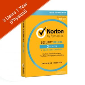 norton security deluxe 3 users 1 year physical